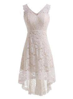 A-Line/Princess Knee-Length Asymmetrical Regular Straps Hall Garden / Outdoor Reception General Plus No Spring Summer Ivory Lace Sleeveless V-neck Wedding Dress