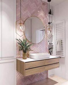 Elegant and luxurious bathroom design ideas for stylish decor -. - Elegant and luxurious bathroom design ideas for stylish decor – - Pink Bathroom Tiles, Pink Tiles, White Tiles, Modern Bathroom, Pink Bathrooms, Master Bathrooms, Dream Bathrooms, Mirrored Tile Bathroom, White Bathroom With Wallpaper