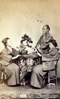Scene around table with bonsai, ca. 1865-1870 by Shimooka Renjo