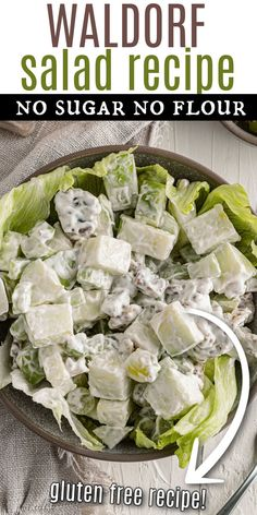 Waldorf Salad brings fruits, nuts and veggies together in a tantalizing creamy dressing. This classic salad makes a delicious light lunch or summertime side dish. Flour Recipes, Gluten Free Recipes, Classic Salad, Cucumber Tomato Salad, Waldorf Salad, Vegan Mayonnaise, Potlucks, How To Make Salad, Side Salad