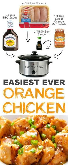 Easy Crockpot Orange Chicken with just 4 easy ingredients. Set it and forget it recipe you and your whole family will love. See all 12 Mind-Blowing Ways To Cook Meat In Your Slow cooker on Listotic Crock Pot Food, Crockpot Dishes, Crock Pot Slow Cooker, Easy Crockpot Recipes, Chicken Crock Pot Meals, Healthy Crock Pot Meals, Chicken Cooker, Crockpot Kids Meals, Dinner Crockpot Recipes