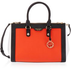 Henri Bendel West 57th Blocked Carryall ($428) ❤ liked on Polyvore featuring bags, handbags, red multi, hardware bag, henri bendel handbags, pouch bag, color block handbag and handle bag