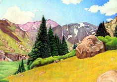 Impression Evergreen: Chicago Basin - Colored Pencil Drawing