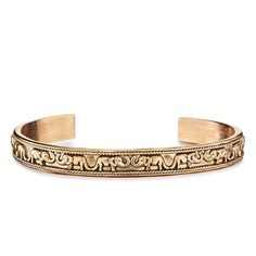 "Antiqued goldtone with imprinted elephant design. One size fits most. Elephants symbolizes ""strength""."