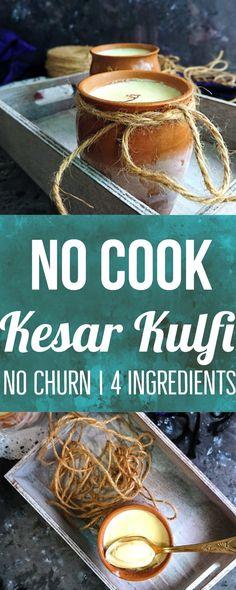 No-cook Kesar Kulfi | no churn | 4 ingredients kulfi recipe | no cook kulfi recipe with condensed milk