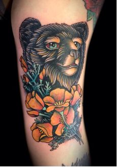 Beautiful old school style brown bear;; solid colors with pretty flowers