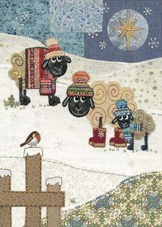 Christmas Amy's Star Sheep - card by Bug Art Christmas Card Crafts, Xmas Cards, Christmas Art, Greeting Cards, Fabric Cards, Fabric Postcards, Sheep Cards, Bug Art, Cute Sheep