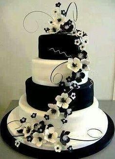 Black and white flower wedding cake