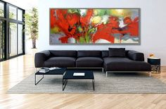"Red, Abstract Painting, Modern Art, Textured Decor Art, Wall decor, 27x71""/70x180cm Large Painting"