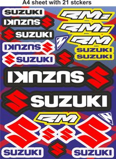 Suzuki stickers,race stickers, decals,helmet decal,motorcycle graphics,tuning.
