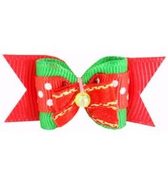 """Puppy Bows For Christmas Economy Red Green 5/8"""""""