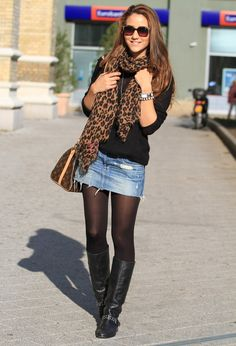 denim skirt tights pantyhose and boots outfits Winter Skirt Outfit, Fall Winter Outfits, Autumn Winter Fashion, Denim Skirt Winter, Long Black Skirt Outfit, Mode Outfits, Casual Outfits, Fashion Outfits, Skirt Fashion