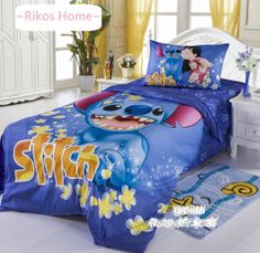 New 2013 Disney Lilo Stitch Bedding Set 3pc Twins Single Bed Cotton Gift RARE