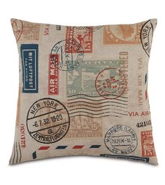 Travel Pillow with Passport stamps- Passport Please from Eastern Accents