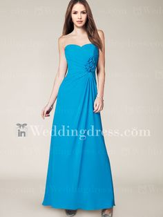 Flower Accented Strapless Sweetheart Chiffon Bridesmaid Dress BR336