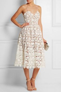 Self-Portrait | Azalea floral-lace dress | Miu Miu #sandals | Kotur clutch | Maria Rudman ring | Pamela Love cuff | NET-A-PORTER.COM