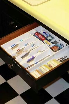Great organizational tool for the bathroom. Why only use dividers in the kitchen? Better idea yet, label the slots, no confusion there!