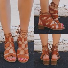 """When you want a little added height, these Up Your Game Heeled Sandals will be your best friend! They are a pair of faux suede cutout and lace up heeled sandals. Heel height: 1.5"""" (approx) Available i"""