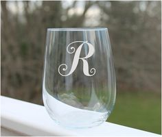 Monogram wine glass, stemless wine glass, Etched Stemless Wine Glass with single monogram letter. These personalized, etched stemless wine glasses are perfect for any occasion. Holds 17oz. Etched Stemless wine glass Monogram Wine Glass by StoneEffectsMD, $12.00