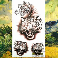 093a571e2 Nu TATY Rage Tiger Growl Temporary Tattoo Body Art Arm Flash Tattoo  Stickers 17*10cm Waterproof Fake Henna Painless Tato Sticker-in Temporary  Tattoos from ...