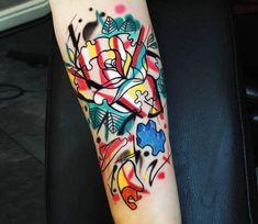 Abstract Rose tattoo by Sebastian Barone