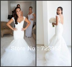 2013 Steven Khalil Designer Lace Mermaid Wedding Dress Cap Sleeve Tulle Layered Open Back /Backless Long Train Bridal Gowns -in Wedding Dres...