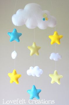 Baby Mobile Stars Mobile Cloud Mobile Baby Mobile Cloud Stars Ready To Ship Baby Mobile Stars Mobile Cloud By Lovefeltxoxo Star Mobile, Cloud Mobile, Felt Mobile, Baby Crafts, Felt Crafts, Diy And Crafts, Crafts For Kids, Baby Room Decor, Nursery Decor
