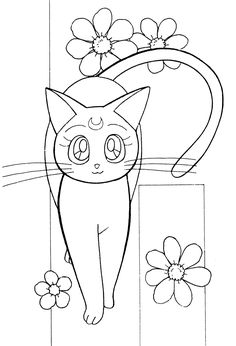 Color Pictures Adult Coloring Colouring Books Pages Sailor Moon Cat Art Tambour Whimsical