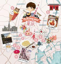 Mes 10 bonnes adresses à Tokyo Carte illustrée / illustrated map www.tokyobanhbao.com