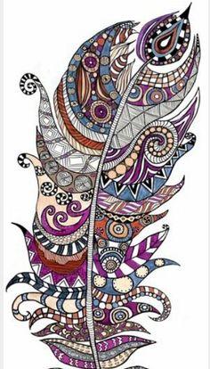 Zeetangle pattern. #penart. Just a random mixture on feathers #harjeetart