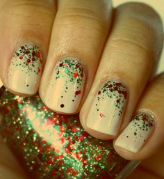 Nude, with glitter; great for the Holidays!