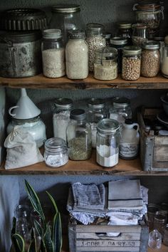 Open pantry (closer view) Beth Kirby of Local Milk kitchen by the Jersey Ice Cream Co., photograph by Beth Kirby Open Pantry, Kitchen Pantry, Kitchen Shelves, Kitchen Storage Jars, Cupboards, Kitchen Organization, Storage Organization, Beth Kirby Kitchen, Kitchen Display