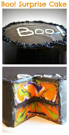 When you cut into this Halloween surprise cake you'll see a psychedelic mix of fun colors inside. It's the perfect fall treat for kids at your next party!