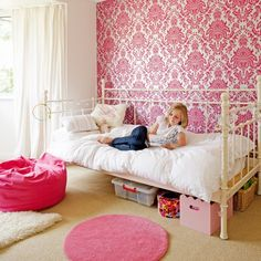 pink wall damask bedroom