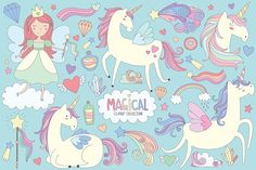Unicorns & Magical Design Elements by Kenna Sato Designs on @creativemarket