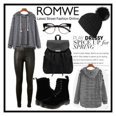 """ROMWE"" by dzenny10 ❤ liked on Polyvore featuring AG Adriano Goldschmied, Dr. Martens and Black"