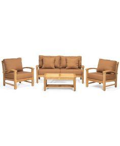 Bristol Teak Outdoor Patio Furniture, 4 Piece Seating Set (1 Sofa, 2 Club Chairs, 1 Coffee Table) - furniture - Macy's
