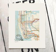 New York Map by BeautifulPeaceShop on Etsy