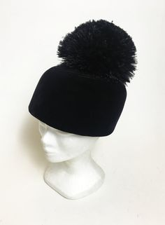 Vintage 60s black velvet and feathers pom pom pillbox hat