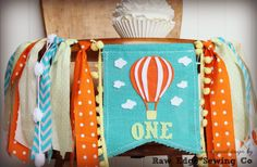 HOT AIR BALLOON Birthday Highchair High Chair Banner Oh The Places You'll Go Dr Seuss Garland First One Cake Smash Photo Prop Party Up Up by RawEdgeSewingCo on Etsy
