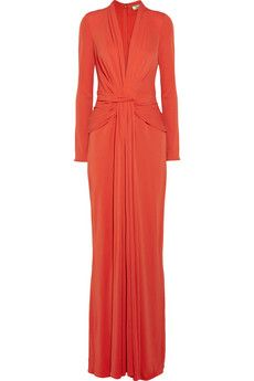 ISSA Draped silk crepe-jersey gown