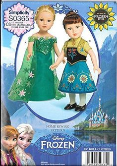 Simplicity S0365 Disney Frozen Sewing Patterns 18-Inch Doll Clothes One Size Only