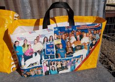 FIRM BASE Show GOAT Medium Woven Plastic Feed Sack Handy Eco Tote Bag YellowUSA  #HandmadebyUSASellerLoneRavenRanch #ToteBag16x512x10tall