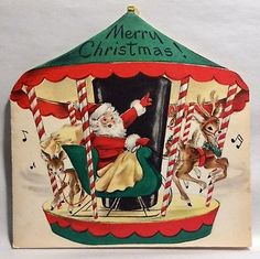Santa Clause Sleigh Merry go Round Reindeer 50s Vintage Christmas Greeting Card