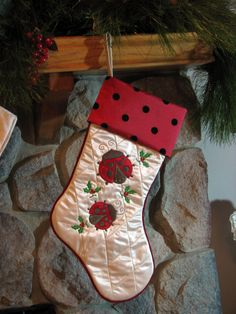 Quilted Ladybug Christmas Holiday Stocking