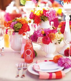 {one pretty pin} Pink and orange party table Orange Party, Orange Tea, Orange Wedding, Orange Table, Wedding Centerpieces, Wedding Decorations, Table Decorations, Colorful Centerpieces, Elegant Centerpieces