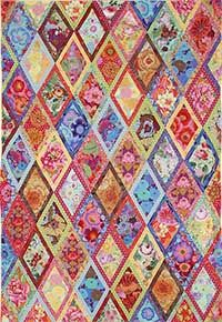 Bordered Diamonds from the book, Simple Shapes-Spectacular Quilts has been so popular that we have made this new version using Kaffe Fassett Collective fabrics in colors very similar to those used in the original quilt shown on page 117. The finished quilt is approximately 56