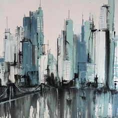 Discover recipes, home ideas, style inspiration and other ideas to try. New York Painting, City Painting, Oil Painting Abstract, Abstract Portrait, Portrait Paintings, Acrylic Paintings, Art Paintings, Skyline Painting, Cityscape Art
