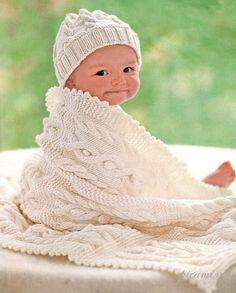Детская шапочка и одеяльце, вязание спицами с описанием