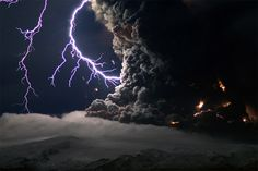 Intense lightning storms mixed with ash clouds to electrify the night sky over Iceland's Eyjafjallajökull volcano